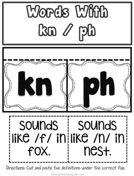 Phonics Interactive Notebook- kn and ph