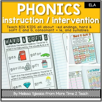Phonics Interactive Unit {for Hard/Soft C & G, -ed Endings, Con + le, Syllables}