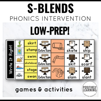 Phonics Intervention Games Initial S Blends S'mores