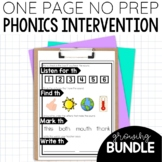 Phonics Intervention Worksheet Activities One Page No Prep