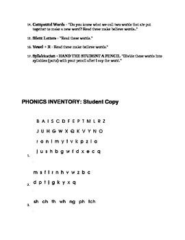 Phonics Inventory Teacher Guide for Assessment