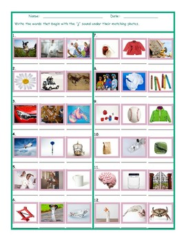 Phonics J Sound Photo Worksheet
