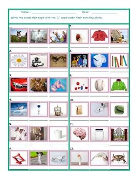 Phonics J Sound Photo Worksheet