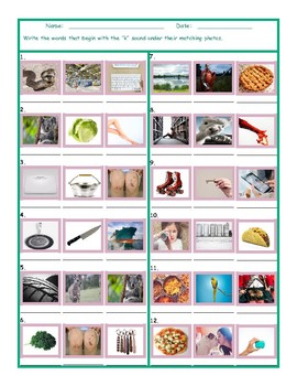 Phonics K Sound Photo Worksheet