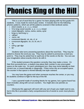 Phonics King of the Hill - 1st grade end-of-year review