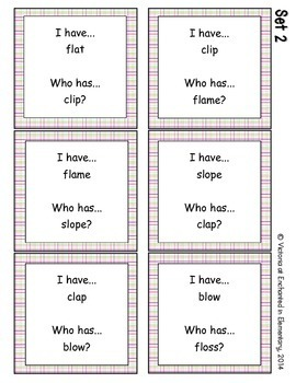 Phonics: L-Blends- I Have, Who Has?