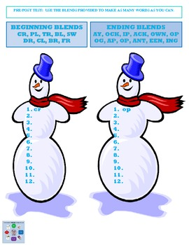 Winter - Phonics Learning Center Snowy Blends {Common Core}