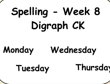 Phonics Lesson Week 8: Digraph CK