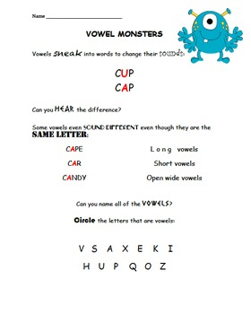 Phonics Lesson: learning about vowels