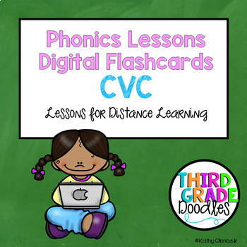 Phonics Lessons Digital Flashcards for Distance Learning - CVC Words