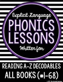 Phonics Lessons for Reading A to Z Decodable Books #1-68 (