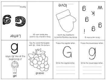 Phonics / Letter G Mini Book Craft
