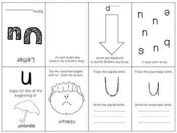 Phonics / Letter U Mini Book Craft