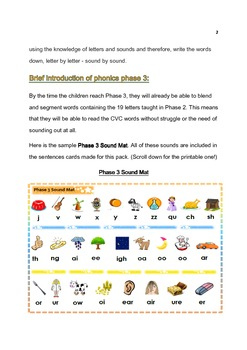 Phonics (Letters & Sounds) Phase3: Fun Sentences with Pictures - Grade 1,2,3