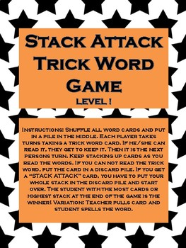 "Phonics Level 1 ""Stack Attack"" Trick Word Game"