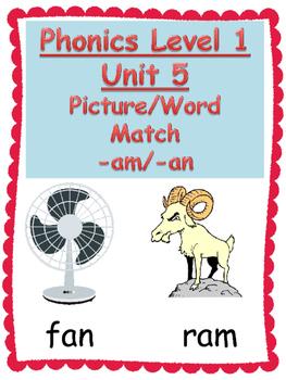 Phonics Level 1 Unit 5 am/an picture word match