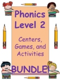Phonics Level 2 BUNDLE:  units 1-17 centers, activities, a