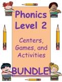 Phonics Level 2 BUNDLE:  units 1-17 centers, activities, a