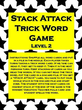 "Phonics Level 2 ""Stack Attack"" Trick Word Game *updated*"
