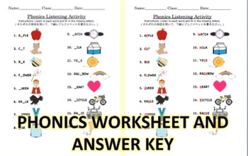 Phonics Listening Practice Worksheet for Japanese Learners of English