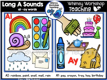Phonics: Long A Sounds Bundle AY AI - Whimsy Workshop Teaching