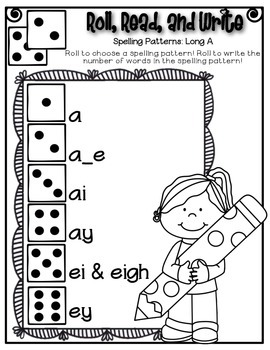 Phonics (Long  A Spelling Patterns) Roll, Read, and Write Activity ~ Free!