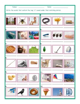 Phonics Long A Vowel Sound Worksheet