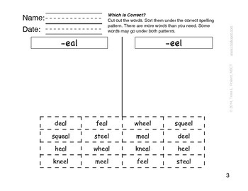 Word Sorts: Cut and Paste Long E Words (Which is Correct?)