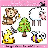 Phonics Long E Vowel Sound Clip Art Set - bee, cheese, monkey, sheep, tree