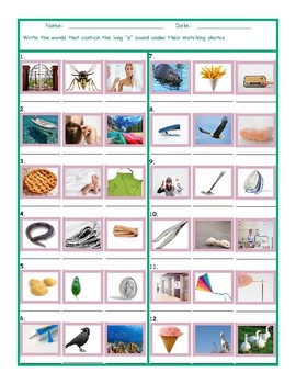 Phonics Long E Vowel Sound Worksheet
