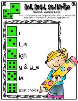 Phonics (Long  I Spelling Patterns) Roll, Read, and Write Activity ~ Free!