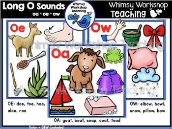 Phonics: Long O Sounds Bundle OA  OE  OW - Whimsy Workshop Teaching