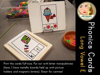 Phonics Cards - Long Vowel E - Word Work Center