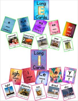 Phonics - Long Vowel Reading Cards for Group, Independent, or Centre Practice