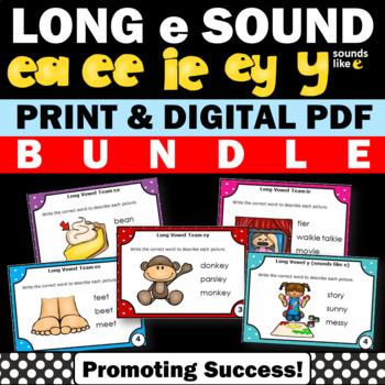 Long e Activities BUNDLE, EA EE IE EY and Y Sounds Like E, Vowel Teams Center