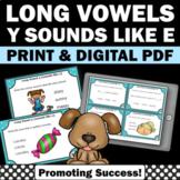 y sounds like e Long Vowel Activities, Vowels Task Cards, Phonics Centers