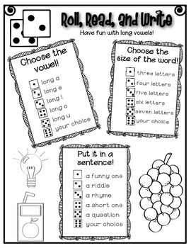 Phonics (Long Vowels) Roll, Read, and Write Activity ~ Free!