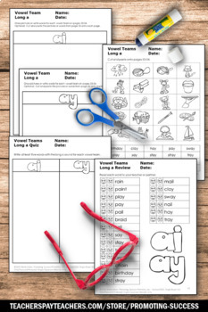 Long a Vowel Team, ai ay Words, Phonics Worksheets, Long Vowel Activities