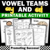 Long a Worksheets, Long Vowel Team Worksheets { ay ai }