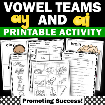 Long Vowel Worksheets, Word Work, Vowel Team ay ai by Promoting Success