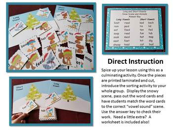 Phonics Long and Short Vowels - Snowy Winter Scene with Animals