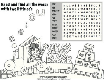 Phonics- Long e with two e's wordsearch