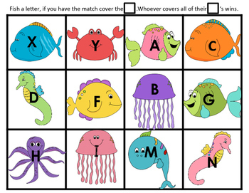 Alphabet Letters Phonics Letter & Beginning Sound Match-Up Game for Kinder