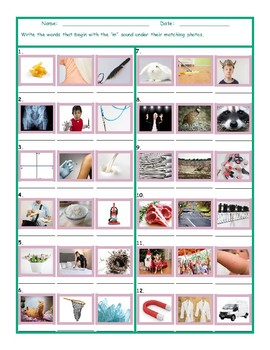 Phonics M Sound Photo Worksheet