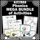 Phonics Centers BUNDLE of Worksheets, Games, Task Cards, Interactive Notebook