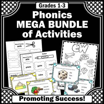 phonics bundle of activities worksheets games task cards 1st grade first