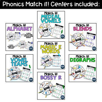 Phonics Match it! Centers BUNDLE