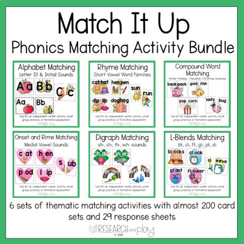 Phonics Matching Activities: Year-Long Thematic Bundle