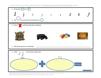 Phonics, Math, & Writing Integration--Jj