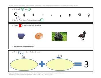 Phonics, Math, & Writing Integration--Gg